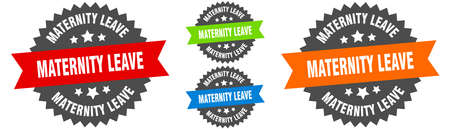 maternity leave sign. round ribbon label set. Stamp