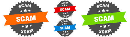 scam sign. round ribbon label set. Stamp 向量圖像