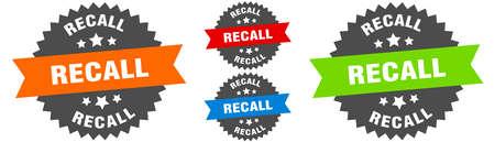 recall sign. round ribbon label set. Stamp