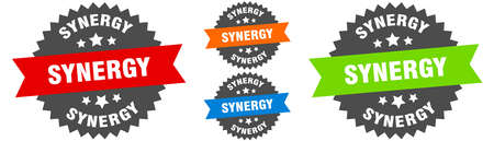 synergy sign. round ribbon label set. Stamp Vectores
