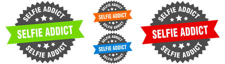 selfie addict sign. round ribbon label set. Stamp 向量圖像