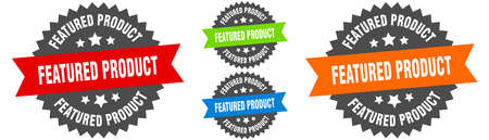 featured product sign. round ribbon label set. Stamp