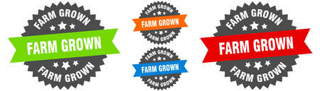 farm grown sign. round ribbon label set. Stamp