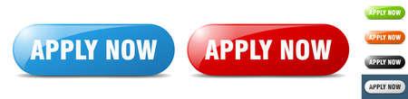 apply now button. sign. key. push button set