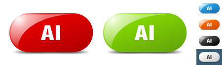 ai button. sign. key. push button set Stock Illustratie