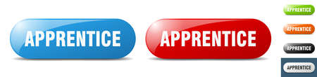 apprentice button. sign. key. push button set Stock Illustratie