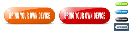 bring your own device button. sign. key. push button set Stock Illustratie