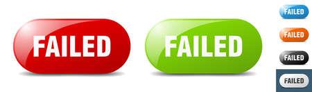 failed button. sign. key. push button set Stock Illustratie