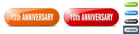 10th anniversary button. sign. key. push button set