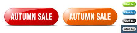 autumn sale button. sign. key. push button set Stock Illustratie