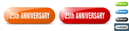 25th anniversary button. sign. key. push button set
