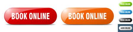 book online button. sign. key. push button set
