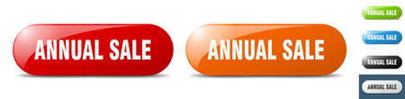 annual sale button. sign. key. push button set Stock Illustratie