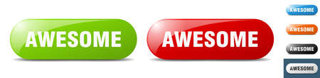 awesome button. sign. key. push button set Stock Illustratie