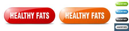 healthy fats button. sign. key. push button set Stock Illustratie