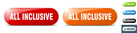 all inclusive button. sign. key. push button set Stock Illustratie