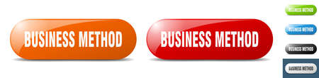 business method button. sign. key. push button set Stock Illustratie
