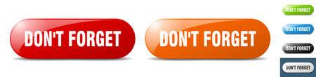 don't forget button. sign. key. push button set Stock Illustratie