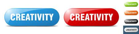 creativity button. sign. key. push button set