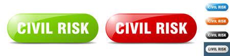 civil risk button. sign. key. push button set Stock Illustratie