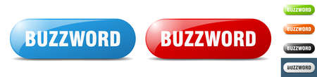buzzword button. sign. key. push button set