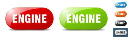 engine button. sign. key. push button set Stock Illustratie