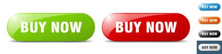 buy now button. sign. key. push button set Stock Illustratie