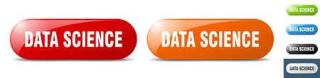 data science button. sign. key. push button set Stock Illustratie