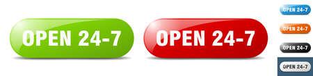 open 24 7 button. sign. key. push button set Stock Illustratie