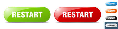 restart button. sign. key. push button set