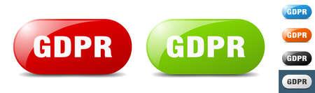 gdpr button. sign. key. push button set