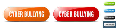 cyber bullying button. sign. key. push button set