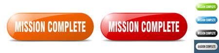 mission complete button. sign. key. push button set