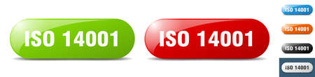 iso 14001 button. sign. key. push button set Illustration