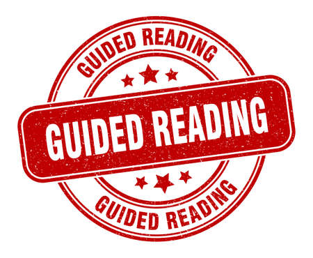 guided reading stamp. guided reading sign. round grunge label