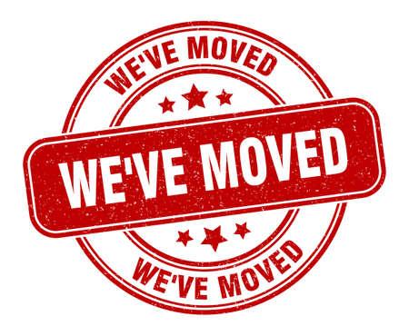 we've moved stamp. we've moved sign. round grunge label