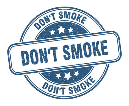 don't smoke stamp. don't smoke sign. round grunge label