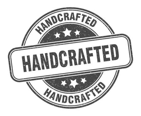 handcrafted stamp. handcrafted sign. round grunge label