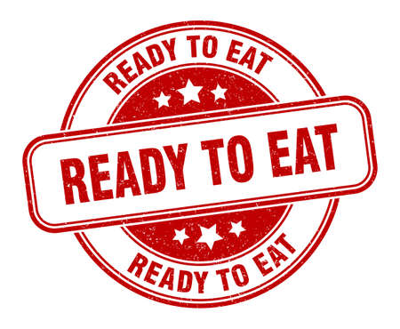 ready to eat stamp. ready to eat sign. round grunge label