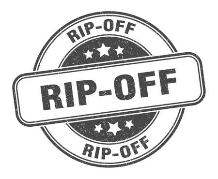 rip-off stamp. rip-off sign. round grunge label