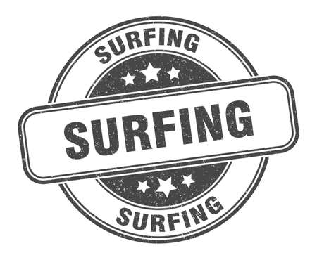 surfing stamp. surfing sign. round grunge label
