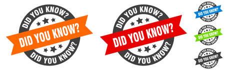 did you know stamp. did you know round ribbon sticker. label Illusztráció