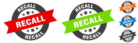 recall stamp. recall round ribbon sticker. label