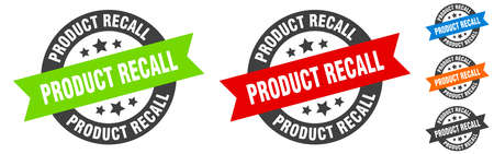 product recall stamp. product recall round ribbon sticker. label