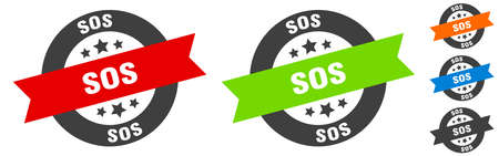 sos stamp. sos round ribbon sticker. label