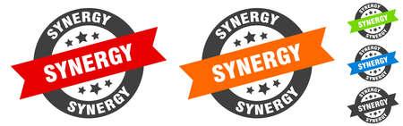 synergy stamp. synergy round ribbon sticker. label