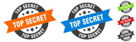 top secret stamp. top secret round ribbon sticker. label 矢量图像