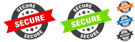 secure stamp. secure round ribbon sticker. label