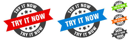try it now stamp. try it now round ribbon sticker. label