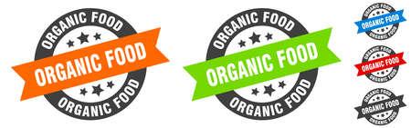 organic food stamp. organic food round ribbon sticker. label